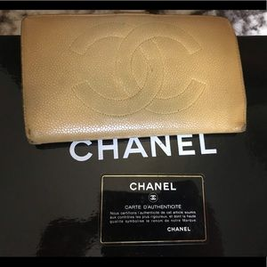 Authentic Chanel tan caviar leather logo wallet